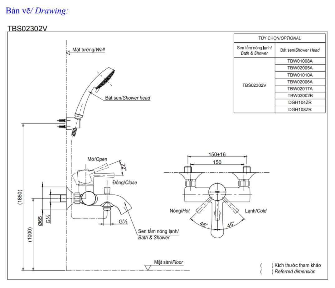 Thông số kĩ thuật củ sen tắm TOTO TBS02302V