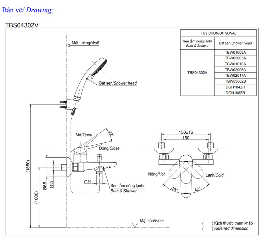 Thông số kĩ thuật củ sen tắm toto TBS04302V