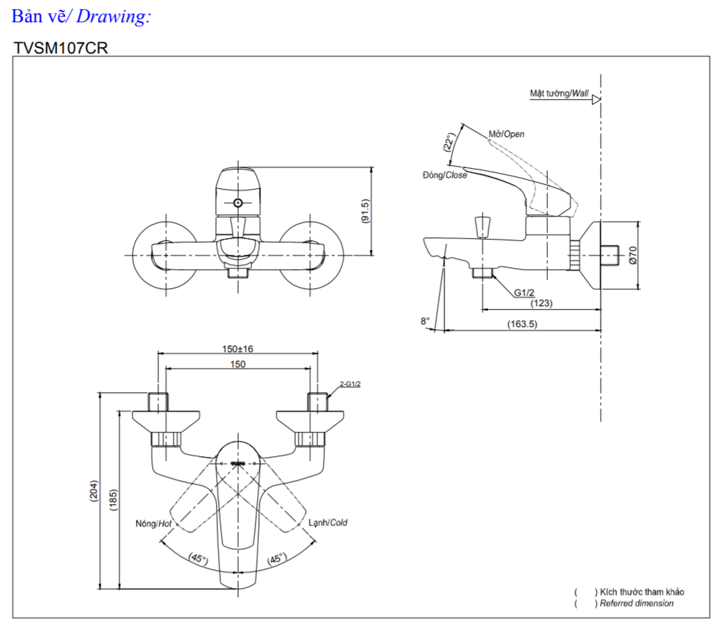 Thông số kĩ thuật củ sen toto TVSM107CRR