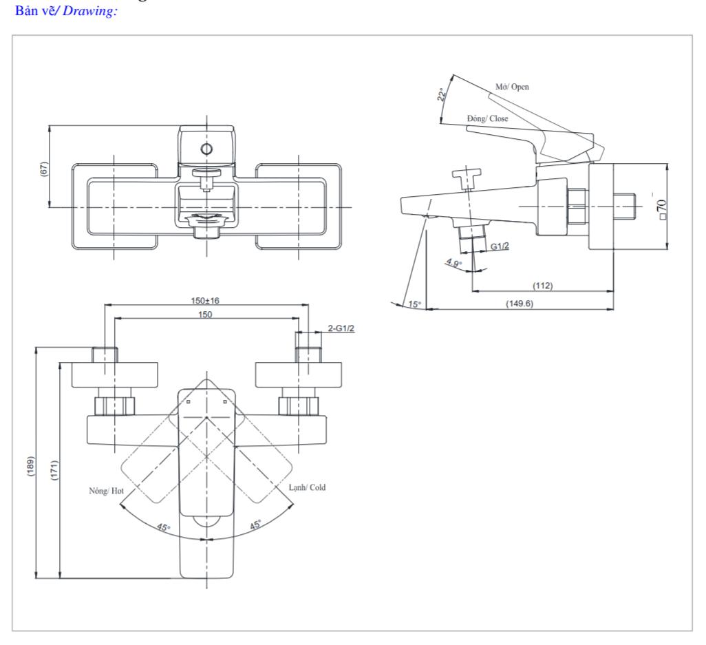Thông số kĩ thuật củ sen toto TVSM110RUR
