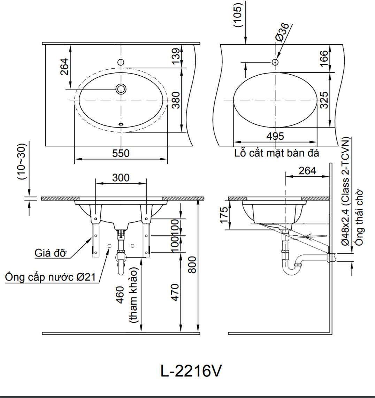 Thông số kĩ thuật lavabo âm bàn INAX L-2216V