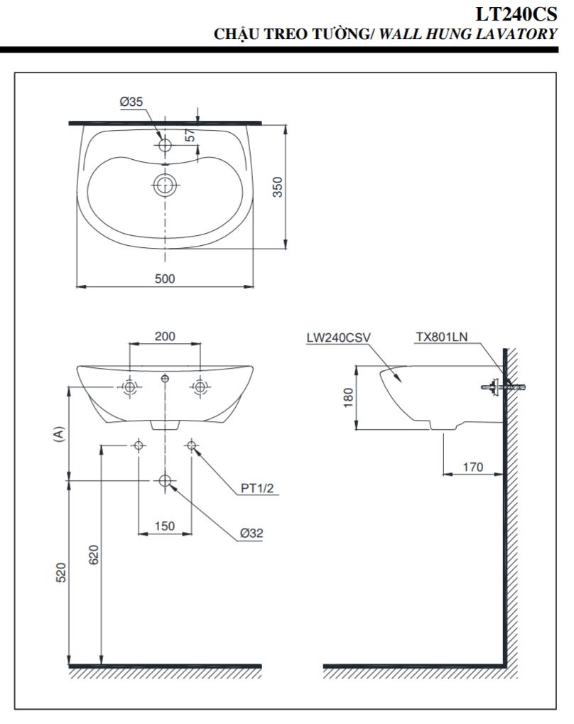 Thông số kĩ thuật lavabo treo tường toto LT240CS