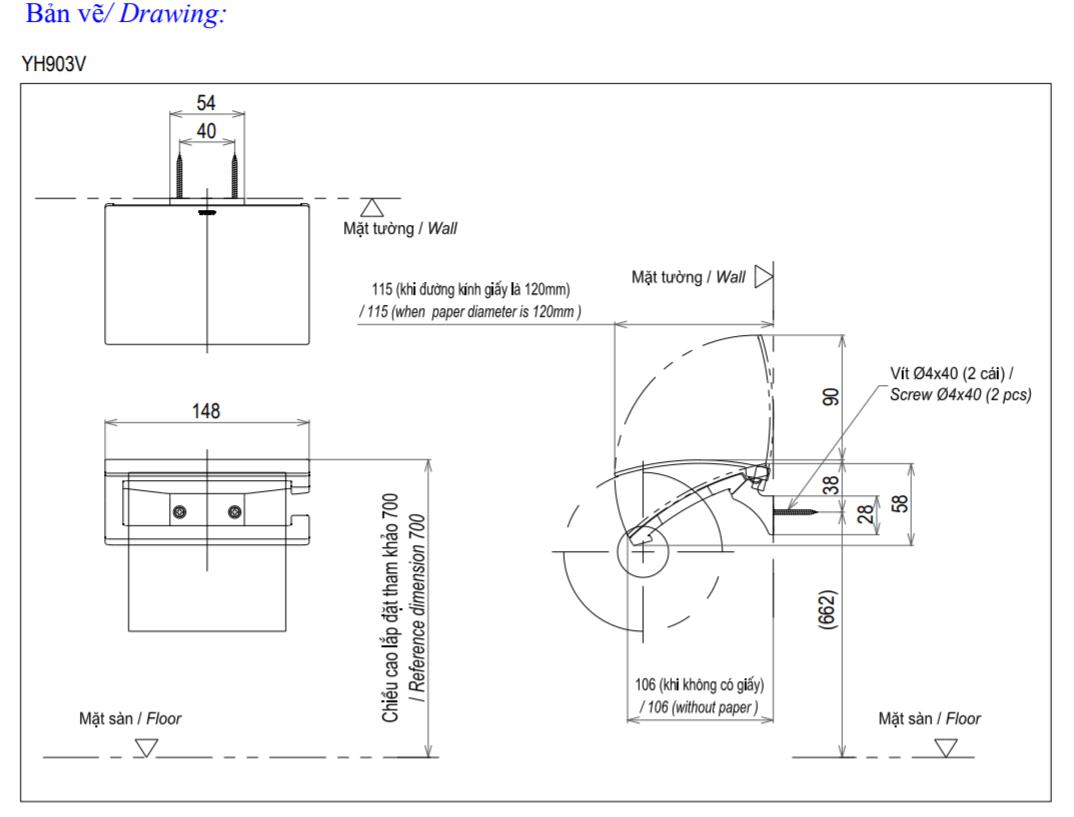 Thông số kĩ thuật lô giấy vệ sinh toto YH903V