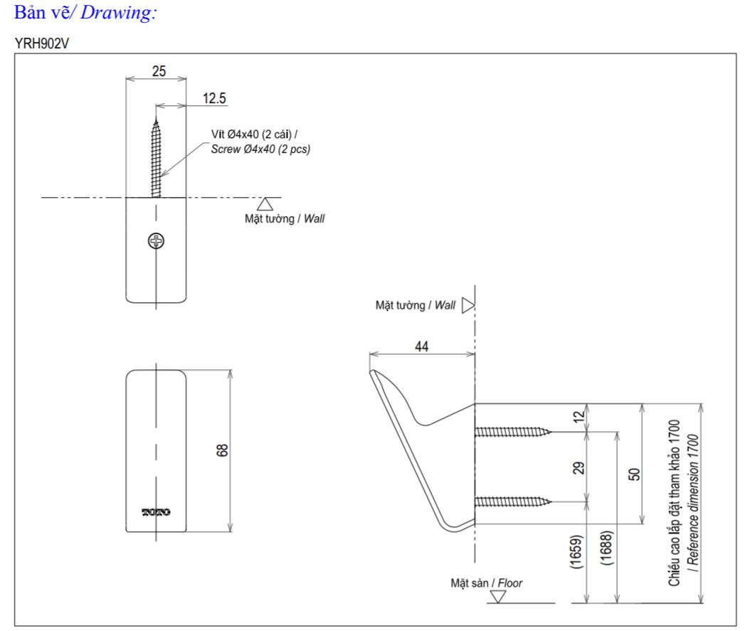 Thông số kĩ thuật móc treo quần áo TOTO YRH902V
