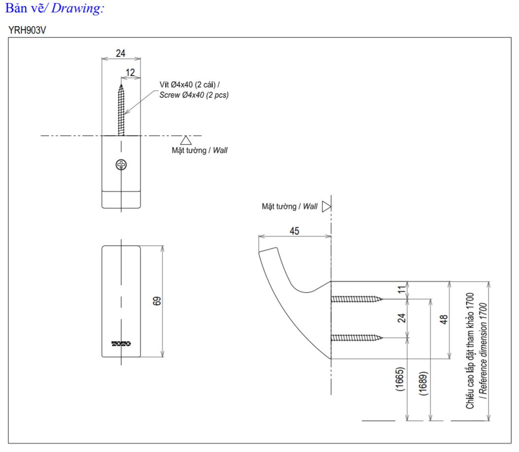 Thông số kĩ thuật móc treo tường toto YRH903V