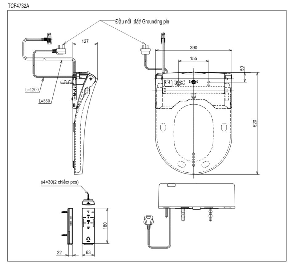 Thông số kĩ thuật nắp rửa bồn cầu điện tử toto washlet TCF4732A