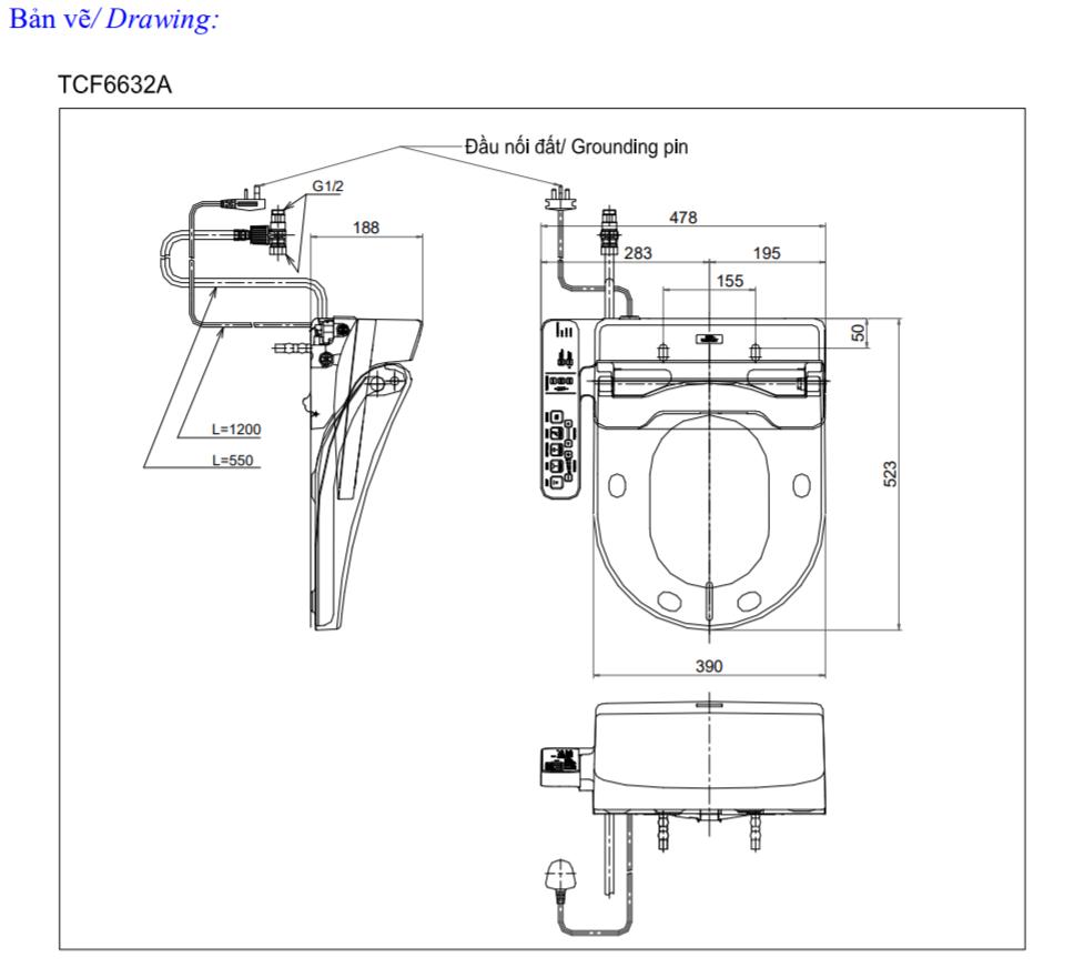 Thông số kĩ thuật nắp bồn cầu toto washlet TCF6632A
