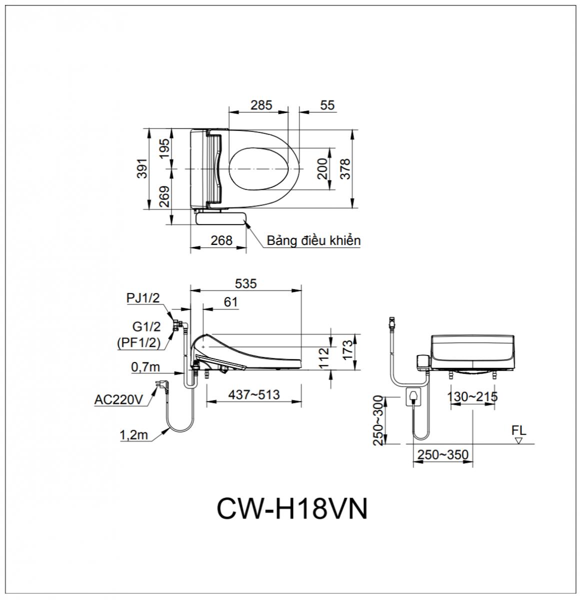 thông số kĩ thuật nắp rửa bồn cầu INAX CW-H18VN