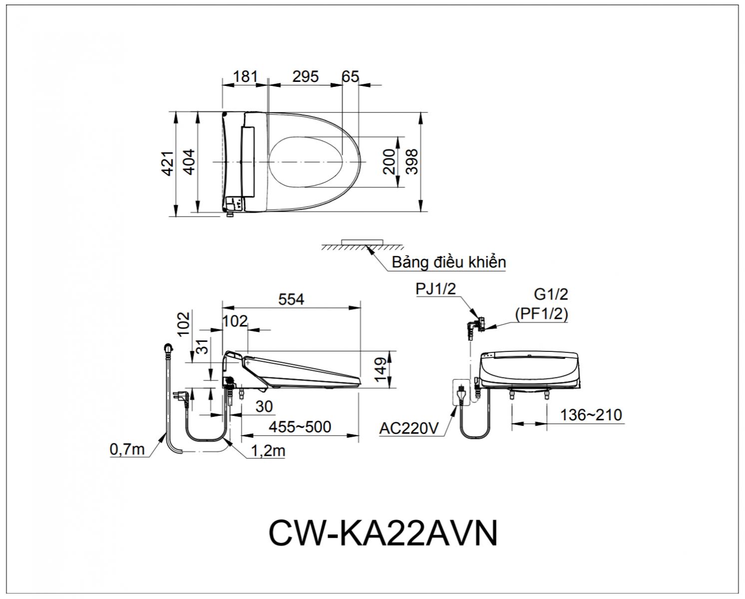 Thông số kĩ thuật bồn cầu INAX CW-KA22AVN
