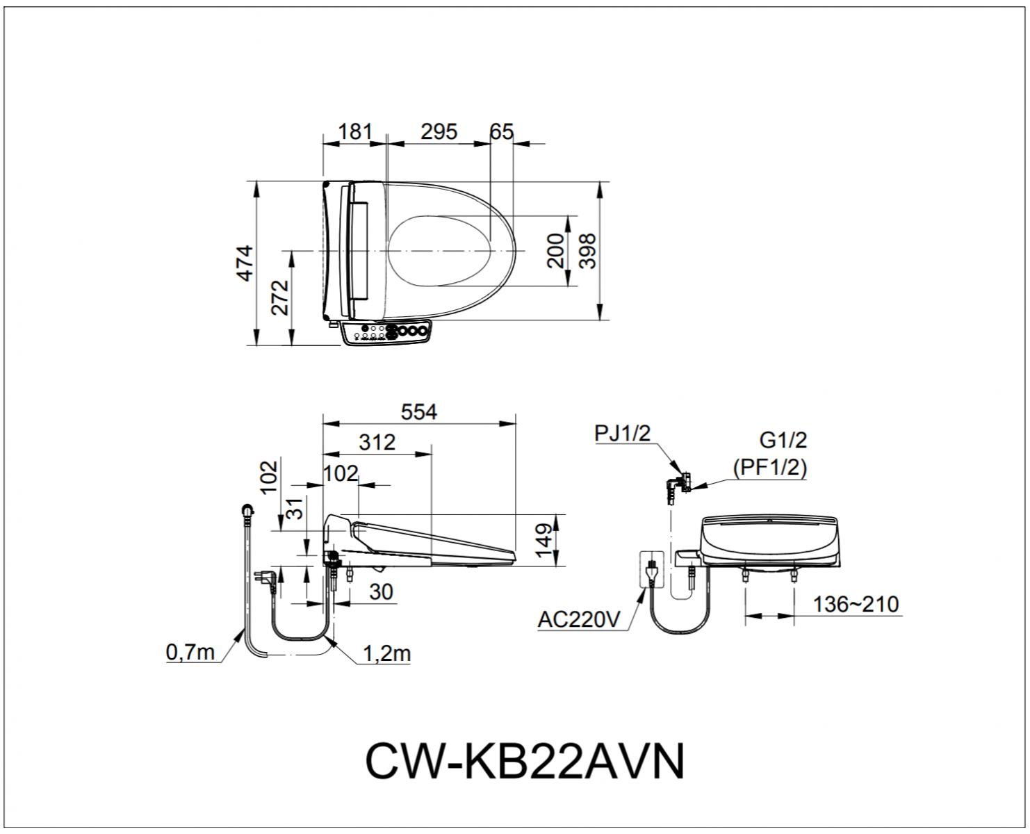 Thông số kĩ thuật nắp rửa điện tử INAX CW-KB22AVN