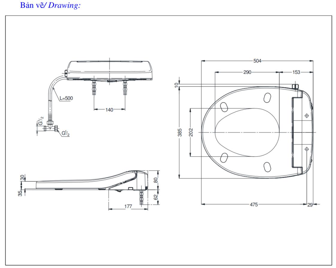 Thông số kĩ thuật nắp rửa cơ eco washer toto TCW07S