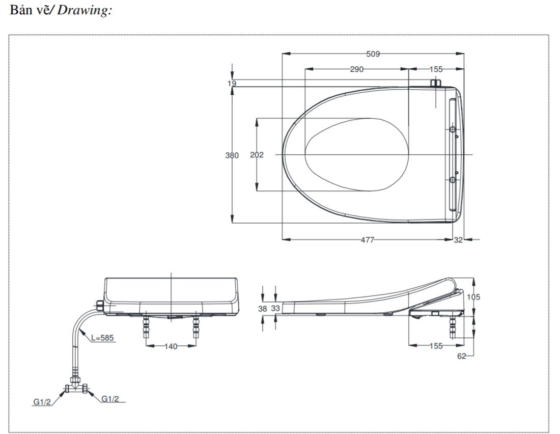 Nắp bồn cầu toto eco washer TCW1211A