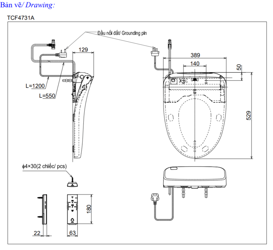 Thông số kĩ thuật nắp rửa điện tử toto washlet TCF4731A