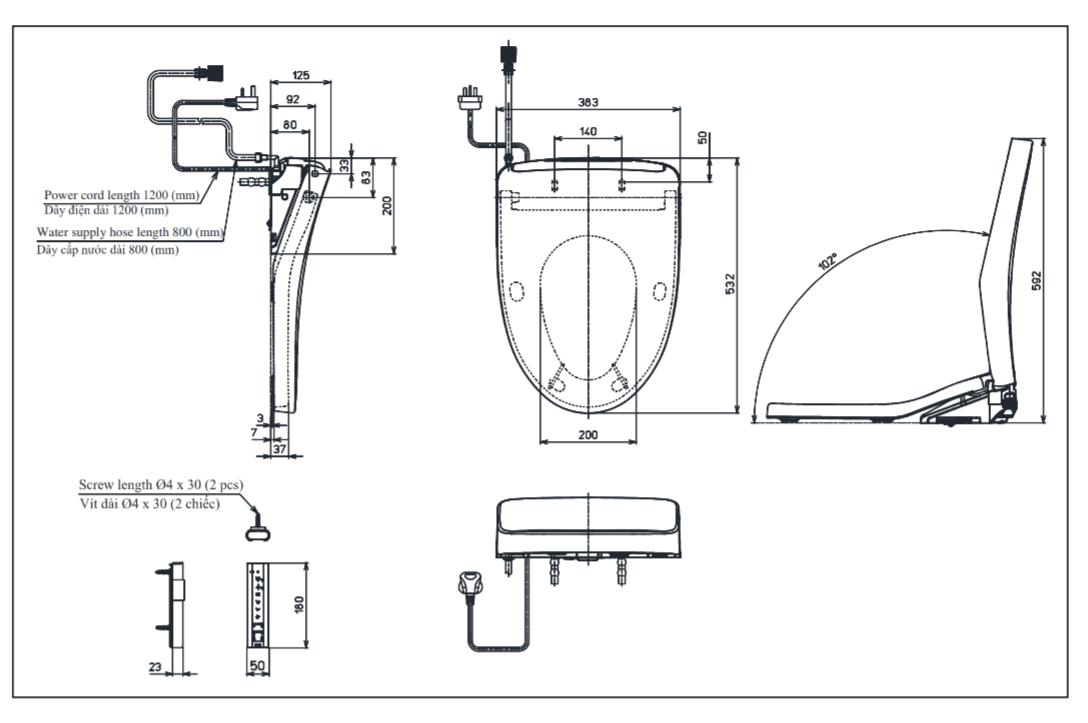 Thông số kĩ thuật nắp rửa điện tử toto TCF4911EZ