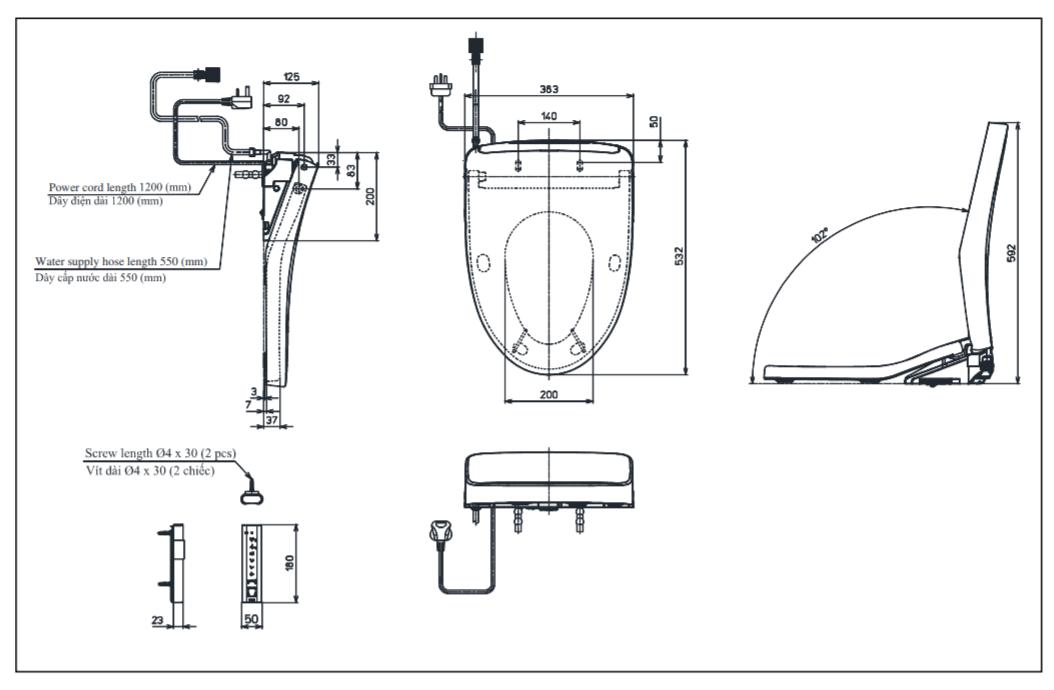 Thông số kĩ thuật nắp rửa điên tử toto washlet TCF4911Z