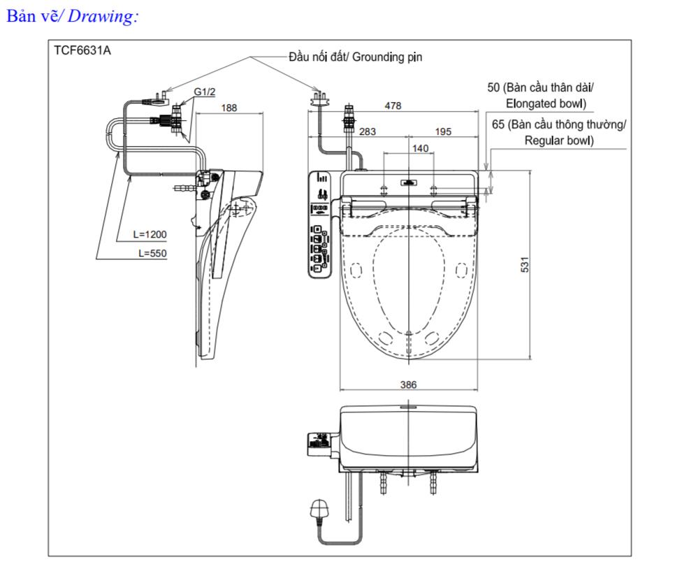 Thông số kĩ thuật bồn cầu toto washlet TCF6631A