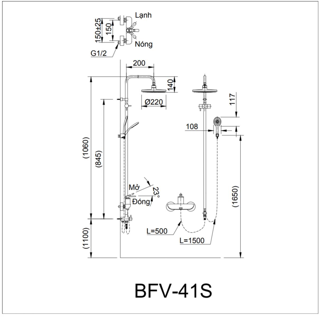 Thông số kĩ thuật sen cây INAX BFV-41S-5C