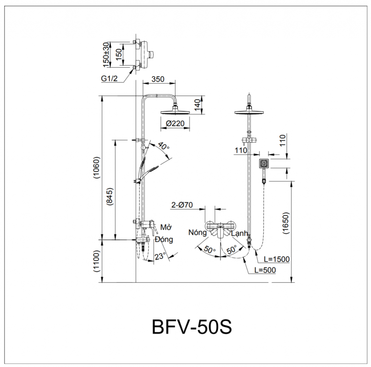Thông số kĩ thuật sen vòi INAX BFV-50S-5C