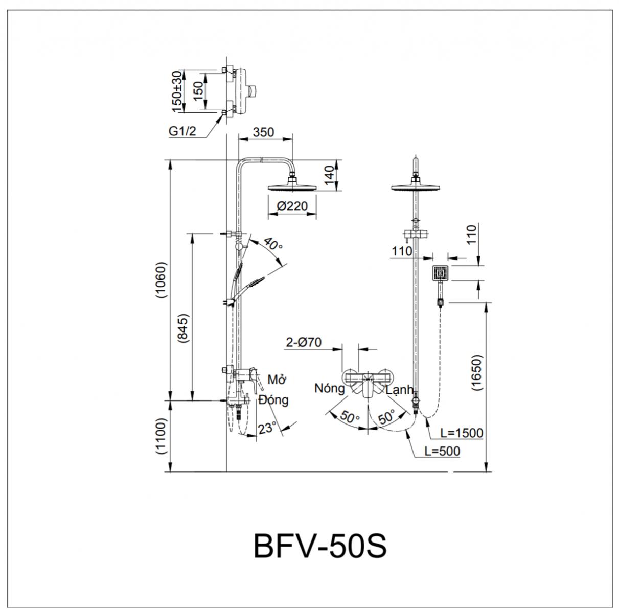 Thông số kĩ thuật sen cây INAX BFV-50S