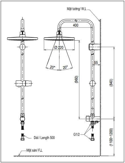 Thông số kĩ thuật Cây sen tắmTOTO DM907CS
