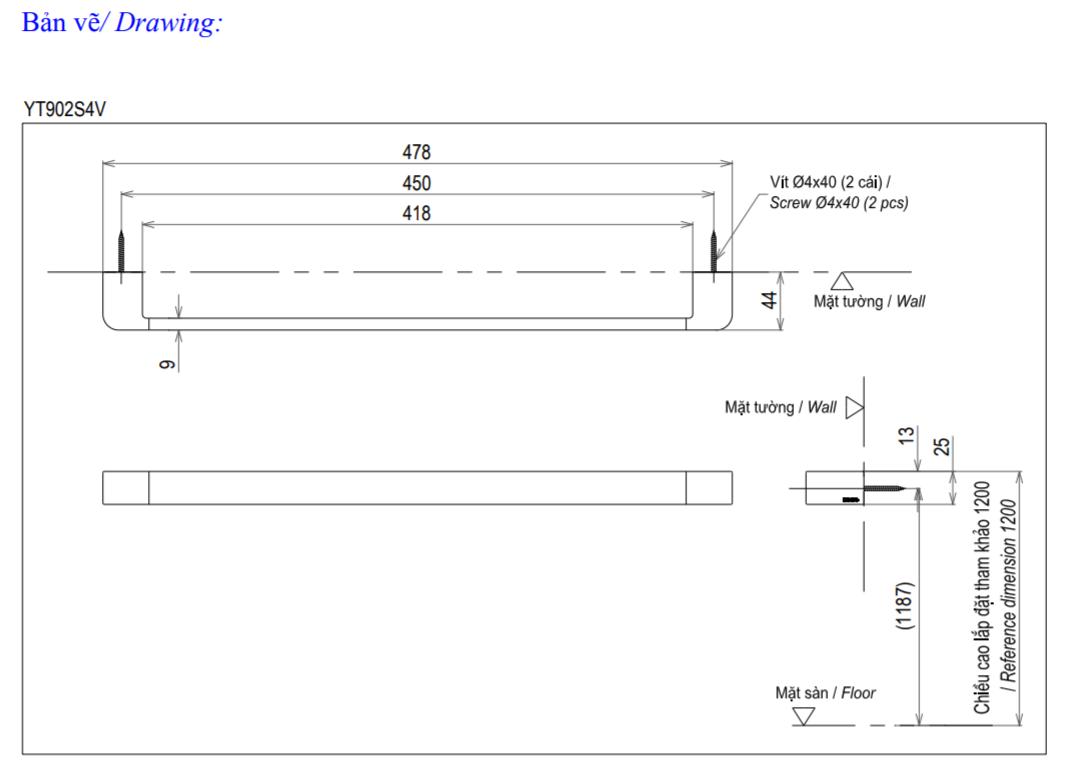 Thông số kĩ thuật thanh vắt khăn TOTO YT902S4V