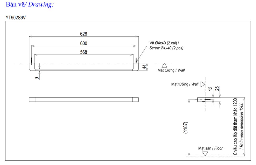 Thông số kĩ thuật thanh vắt khăn TOTO YT902S6V