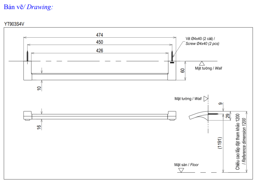 Thông số kĩ thuật thanh vắt khăn TOTO YT903S4V