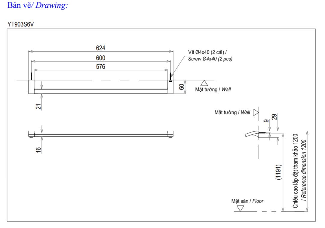 Thông số kĩ thuật thanh vắt khăn TOTO YT903S6V