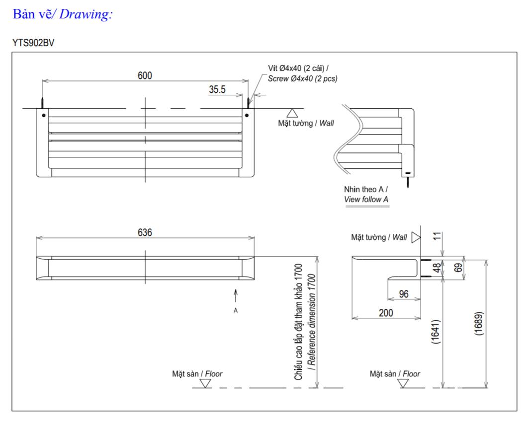Thông số kĩ thuật thanh vắt khăn TOTO YTS902BV