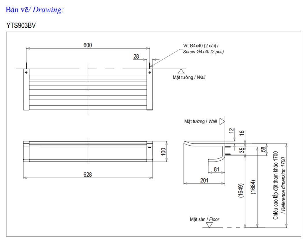 Thông số kĩ thuật thanh vắt khăn toto YTS903BV