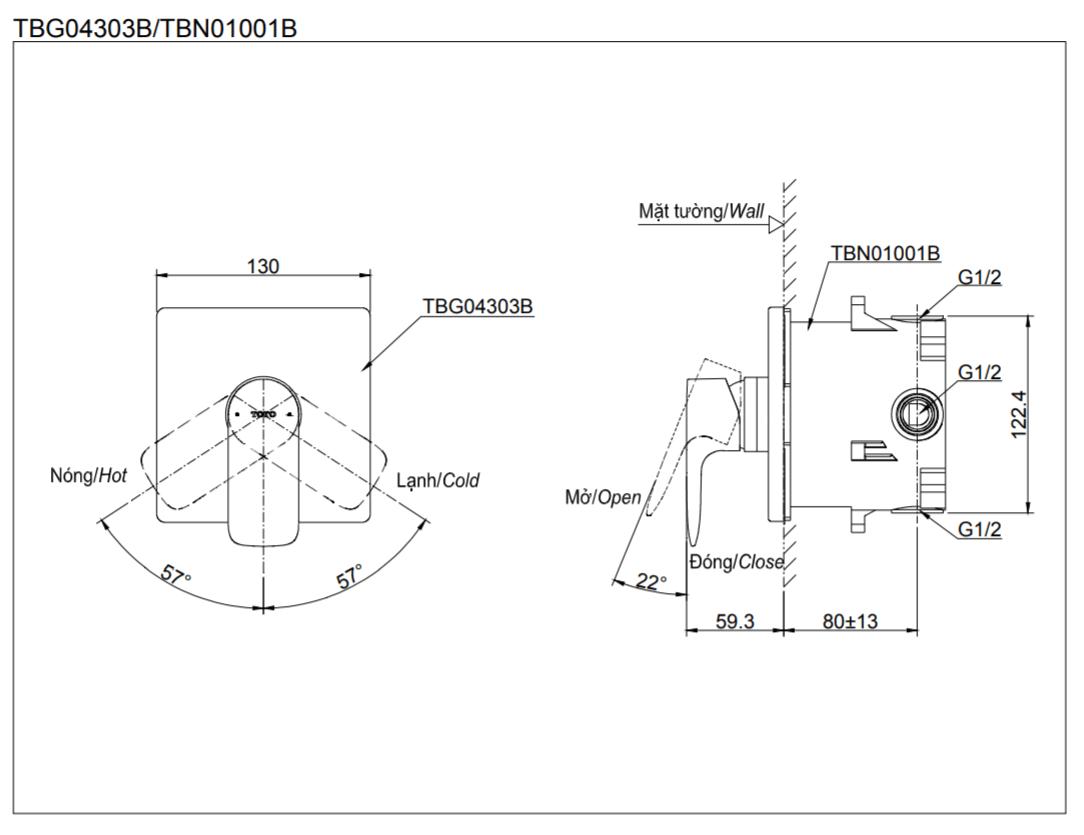 Thông số kĩ thuật van gật gù âm tường toto