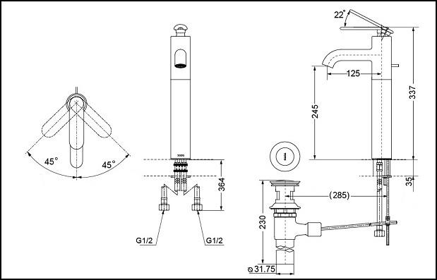 Thông số kĩ thuật vòi chậu lavabo TOTO DL345A1R