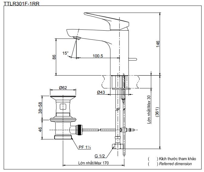 Thông số kĩ thuật vòi chậu lavabo TOTO TTLR301F-1RR