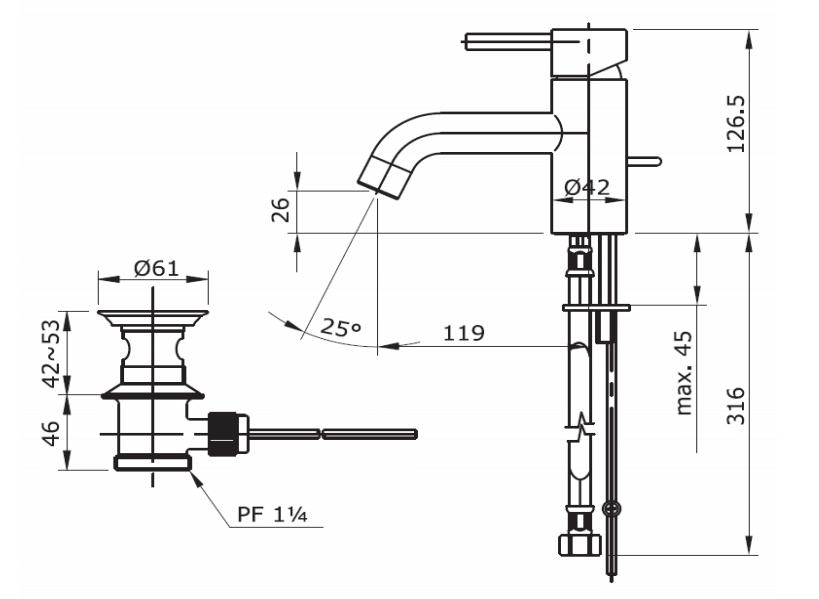Thông số kĩ thuật vòi chậu TOTO TX115LESN