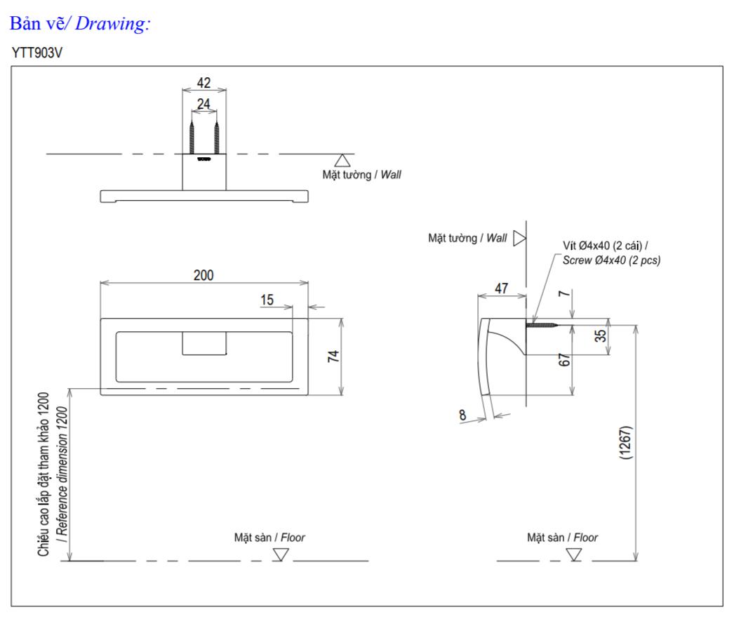 Thông số kĩ thuật vòng treo khăn TOTO YTT903V