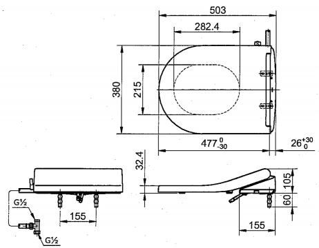 Thông số kĩ thuật nắp rửa cơ toto eco washer TCW09SK1