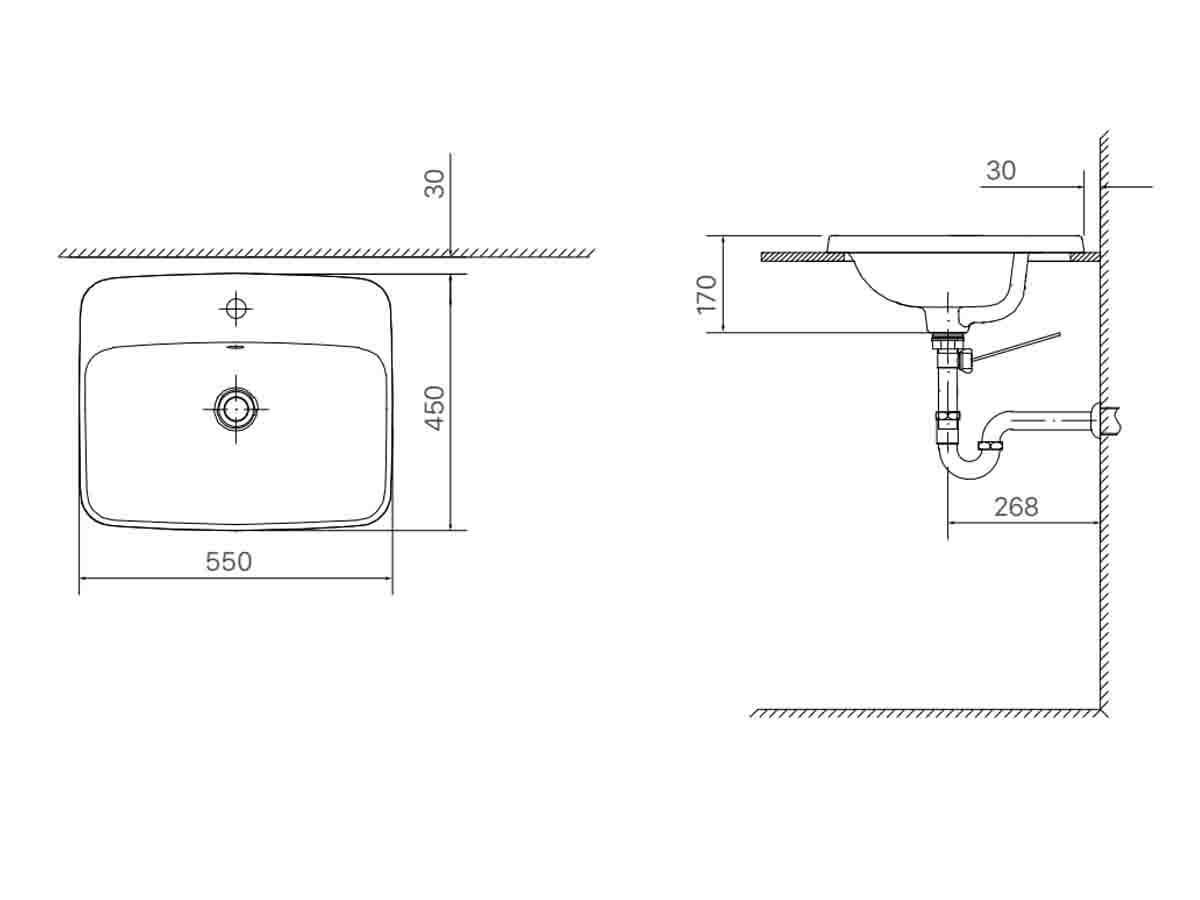 Bản vẽ kỹ thuật của chậu rửa Lavabo INAX đặt bàn AL-2398V (EC/FC)